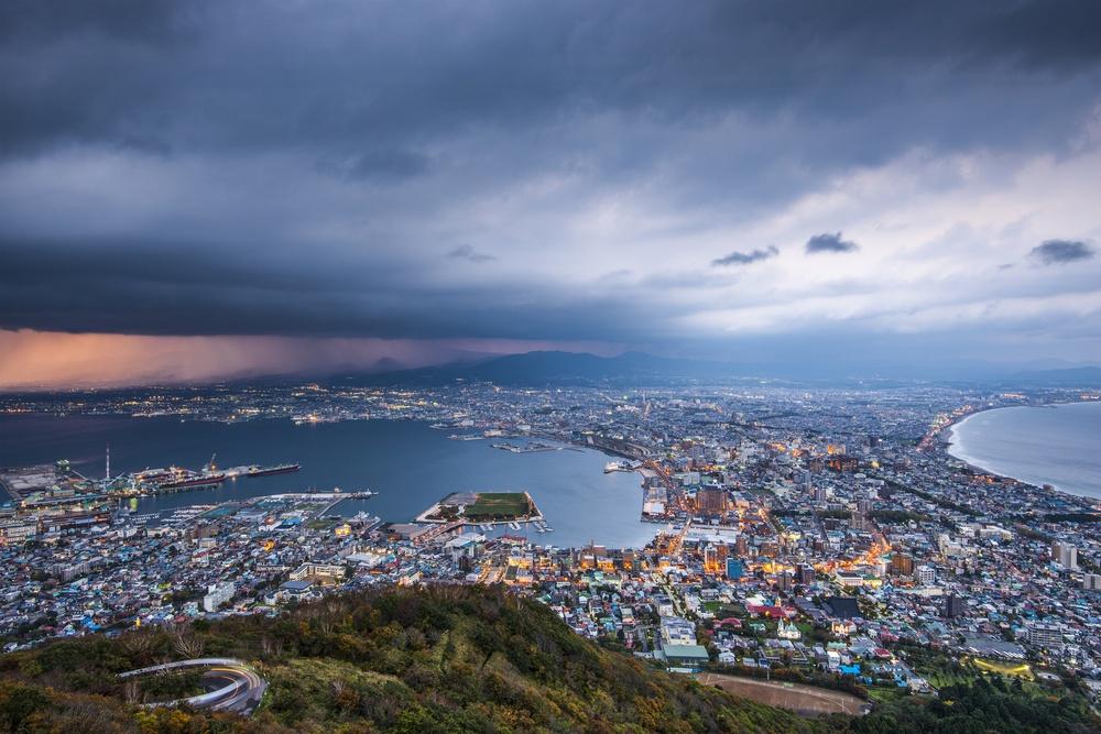 Hakodate, Japan viewed from Hakodate Mountain.